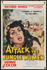 4t059 ATTACK OF THE JUNGLE WOMEN 1sh 1959 sexy untamed topless women without morals or mercy!