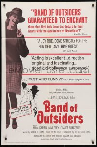 4t071 BAND OF OUTSIDERS 1sh 1966 Jean-Luc Godard's Bande a Part, Anna Karina!