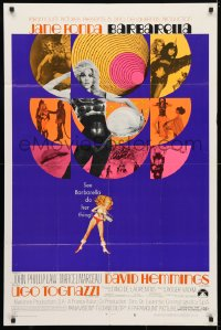 4t074 BARBARELLA style B 1sh 1968 Roger Vadim, montage of sexy Jane Fonda images + art by McGinnis!