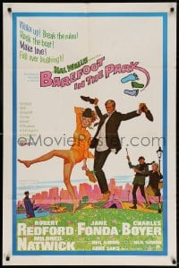 4t076 BAREFOOT IN THE PARK 1sh 1967 McGinnis art of Robert Redford & Jane Fonda in Central Park!