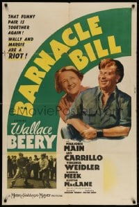 4t077 BARNACLE BILL style D 1sh 1941 sailor Wallace Beery w/ Marjorie Main & fighting on dock!