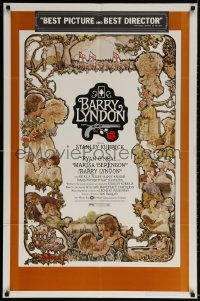 4t078 BARRY LYNDON 1sh 1975 Stanley Kubrick, Ryan O'Neal, great colorful art of cast by Gehm!