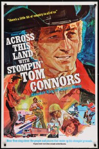 4t025 ACROSS THIS LAND WITH STOMPIN' TOM CONNORS Canadian 1sh 1973 John C. W. Saxton, cool art by Main!