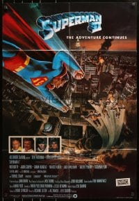 4t842 SUPERMAN II English 1sh 1981 Christopher Reeve, Terence Stamp, great Goozee art over NYC!