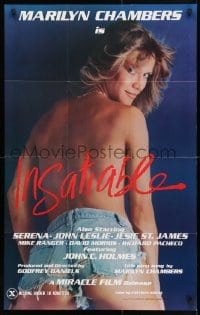 4t437 INSATIABLE 24x37 1sh 1980 super sexy topless Marilyn Chambers wearing only jean shorts!