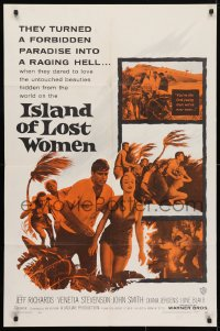 4t446 ISLAND OF LOST WOMEN 1sh 1959 hidden, forbidden, untouched beauties in a raging hell!