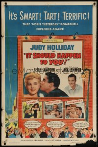 4t449 IT SHOULD HAPPEN TO YOU 1sh 1954 sexy Judy Holliday & Jack Lemmon's first role!