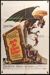 4t451 JACK THE GIANT KILLER 1sh 1962 cool fantasy art of Kerwin Mathews battling dragon from book!