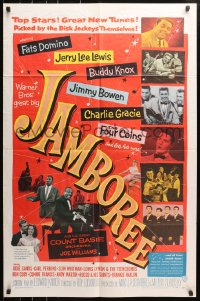 4t452 JAMBOREE 1sh 1957 Fats Domino, Jerry Lee Lewis & other early rockers pictured!