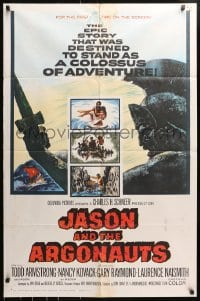 4t453 JASON & THE ARGONAUTS 1sh 1963 great special effects by Ray Harryhausen, art of colossus!