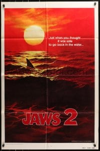 4t455 JAWS 2 teaser 1sh 1978 art of man-eating shark's fin in red water at sunset, undated design!
