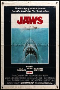 4t454 JAWS 1sh 1975 Kastel art of Steven Spielberg's classic man-eating shark attacking swimmer!
