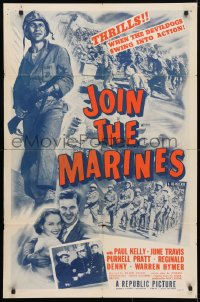 4t462 JOIN THE MARINES 1sh R1950 New York cop joins Olympic team then joins Marines for love!