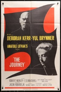 4t465 JOURNEY 1sh 1958 close-up shadowy images of Yul Brynner, Deborah Kerr and great design!