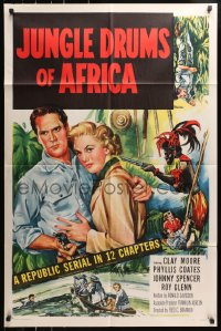 4t473 JUNGLE DRUMS OF AFRICA 1sh 1952 Clayton Moore with gun & Phyllis Coates, Republic serial!