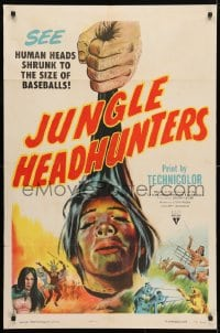 4t474 JUNGLE HEADHUNTERS 1sh 1951 wild shrunken head artwork, voodoo documentary!