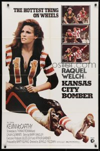 4t475 KANSAS CITY BOMBER revised 1sh 1972 sexy roller derby girl Raquel Welch, the hottest thing on wheels!