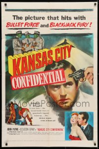 4t476 KANSAS CITY CONFIDENTIAL 1sh 1952 John Payne, Coleen Gray, bullet force & blackjack fury!