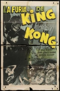 4t481 KING KONG 1sh R1947 art of the giant ape carrying Fay Wray on Empire State Building, rare!