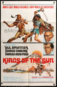4t483 KINGS OF THE SUN style A 1sh 1963 Frank McCarthy art of Yul Brynner fighting George Chakiris!
