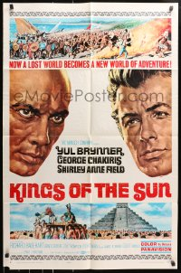 4t484 KINGS OF THE SUN style B 1sh 1963 Frank McCarthy art of Yul Brynner and George Chakiris!