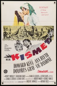 4t485 KISMET 1sh 1956 Howard Keel, Ann Blyth, ecstasy of song, spectacle & love!
