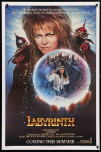 4t489 LABYRINTH teaser 1sh 1986 Jim Henson, art of David Bowie & Jennifer Connelly by Chorney!