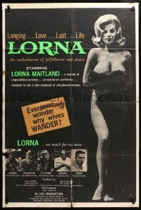 4t529 LORNA 1sh 1964 sexy Lorna Maitland in Russ Meyer sex classic over black background!