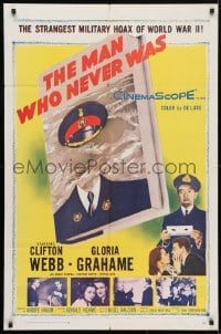 4t553 MAN WHO NEVER WAS 1sh 1956 Clifton Webb, Gloria Grahame, strangest military hoax of WWII!