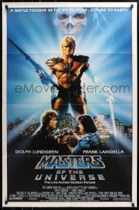4t562 MASTERS OF THE UNIVERSE 1sh 1987 image of Dolph Lundgren as He-Man & Langella as Skeletor!