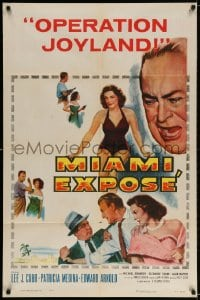 4t569 MIAMI EXPOSE 1sh 1956 Lee J. Cobb, sexy Patricia Medina in swimsuit, Florida mob!