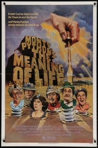 4t577 MONTY PYTHON'S THE MEANING OF LIFE 1sh 1983 Garland artwork of the screwy Monty Python cast!