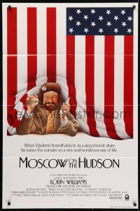 4t580 MOSCOW ON THE HUDSON style B int'l 1sh 1984 great artwork of Russian Robin Williams, rare!