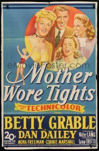 4t582 MOTHER WORE TIGHTS 1sh 1947 artwork of Betty Grable, Dan Dailey, Mona Freeman!