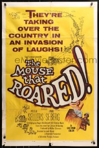 4t584 MOUSE THAT ROARED 1sh 1959 Sellers & Seberg take over the country w/an invasion of laughs!
