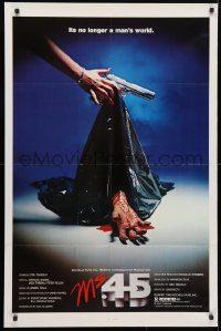 4t587 MS. .45 1sh 1981 Abel Ferrara cult classic, cool body bag image and bloody hand!