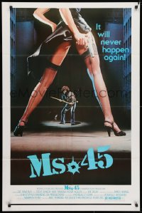 4t588 MS. .45 1sh 1981 Abel Ferrara cult classic, great image of sexy girl's legs with gun!