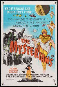 4t593 MYSTERIANS 1sh 1959 they're abducting Earth's women & leveling its cities, RKO printing!