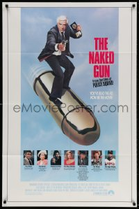 4t597 NAKED GUN 1sh 1988 Leslie Nielsen in Police Squad screwball crime classic, great image!