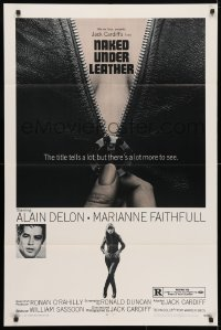 4t600 NAKED UNDER LEATHER 1sh 1970 Alain Delon, super c/u of sexy Marianne Faithfull unzipping!