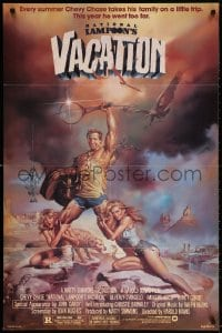4t601 NATIONAL LAMPOON'S VACATION studio style 1sh 1983 Chevy Chase and cast by Boris Vallejo!