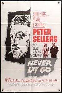 4t608 NEVER LET GO 1sh 1962 Peter Sellers in a totally different role, sexy Elizabeth Sellars!