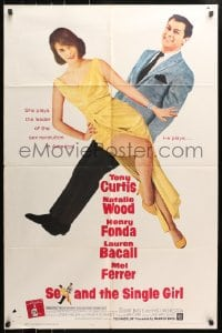 4t762 SEX & THE SINGLE GIRL 1sh 1965 great full-length image of Tony Curtis & sexiest Natalie Wood!