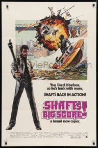 4t766 SHAFT'S BIG SCORE 1sh 1972 great artwork of mean Richard Roundtree with big gun!