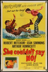 4t768 SHE COULDN'T SAY NO 1sh 1954 sexy short-haired Jean Simmons, Dr. Robert Mitchum