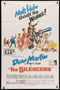 4t774 SILENCERS 1sh 1966 outrageous sexy phallic art of Dean Martin & Slaygirls by Brian Bysouth!