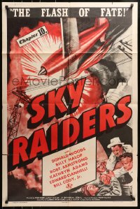 4t781 SKY RAIDERS chapter 10 1sh 1941 Donald Woods, airplane serial in 12 thrill-powered chapters!
