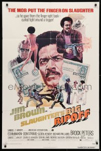4t783 SLAUGHTER'S BIG RIPOFF 1sh 1973 the mob put the finger on BAD Jim Brown, cool Akimoto art!