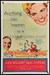 4t788 SOLID GOLD CADILLAC 1sh R1961 Judy Holliday, Pauls Douglas, anything can happen!