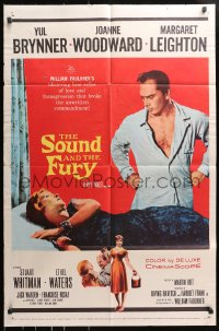 4t792 SOUND & THE FURY 1sh 1959 close up of Yul Brynner with hair sitting in chair!